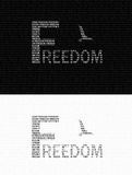 Freedom text logo. Freedom text logo on black and white background Royalty Free Stock Photography