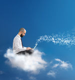 Freedom to communicate and work. With cloud technology Royalty Free Stock Photo