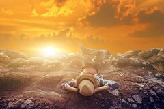 Freedom touristman relaxation with nature on sunset. Freedom touristman relaxation with nature royalty free stock image