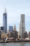 Freedom tower and Beekman Tower in lower Manhattan Stock Photos