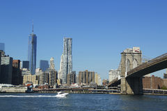 Freedom Tower and Beekman Tower in Lower Manhattan Stock Photo