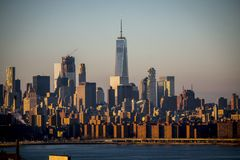 Freedom Tower, Manhattan, New York City 2016. Freedom Tower stands amongst other buildings and skyscrapers in New York City on a cold, hazy winter day December Stock Images
