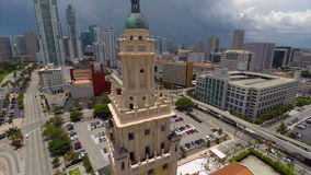 Freedom Tower Miami aerial video stock footage