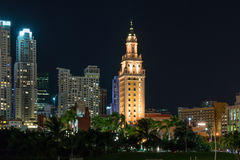The Freedom Tower in Miami Florida at night. The Freedom Tower was designated a U.S. National Historic Landmark and is currently used as a contemporary art Stock Photo