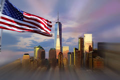 Freedom Tower New York City with evening sky reflection. Stock Photo
