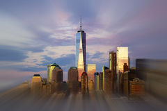 Freedom Tower New York City with evening sky reflection. Stock Photos