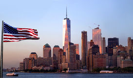 Freedom Tower New York City with evening sky reflection. Royalty Free Stock Photography