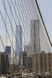 Freedom Tower och Beekman tornsikt från den Brooklyn bron Royaltyfri Bild