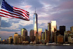 Freedom Tower, reflecting evening  sky , New York City Stock Images
