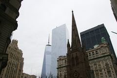 Freedom Tower and Trinity Church Stock Image