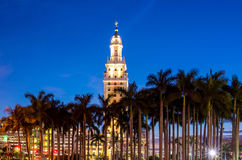 Freedom Tower at twilight in Miami. Florida Royalty Free Stock Photo