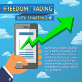 Freedom Trading With Smartphone Template Royalty Free Stock Images