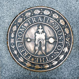 The Freedom Trail in Boston. Bronze path plaque marking trail in Boston Stock Photo
