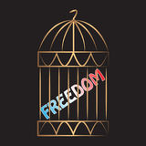 Freedom trapped in a cage. Conceptual vector illustration. Golden cage on black background. Movement, debate, awareness, message, statement Stock Photos