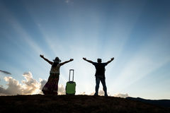 Freedom tourist travel couple. Freedom travel concept at blue sky silhouette stock photography