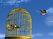 Freedom versus prison - 3D render. Two blue finch birds, one flying out of the cage and the other in the cage - 3D render Royalty Free Stock Photo