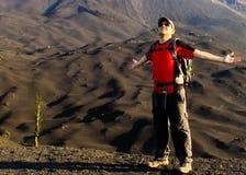 Freedom on volcano Pacaya royalty free stock photography