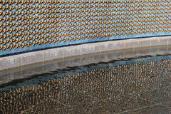 The Freedom Wall, where each star represents 100 service personnel in WWII, Washington,DC,2015 Royalty Free Stock Photo
