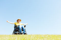 Freedom in wheelchair Stock Photo