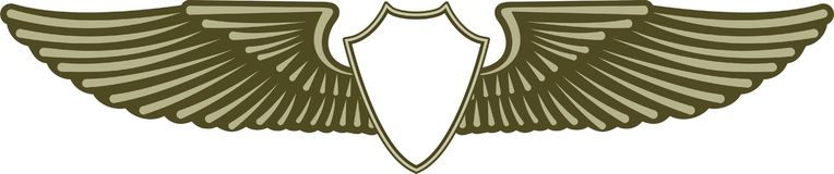Freedom wings. Graphic design green-winged emblem stock illustration