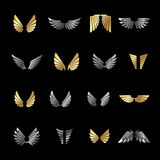 Freedom Wings emblems set. Heraldic Coat of Arms decorative logo Royalty Free Stock Images