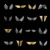 Freedom Wings emblems set. Heraldic Coat of Arms decorative logo Royalty Free Stock Photos