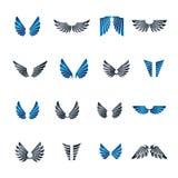Freedom Wings emblems set. Heraldic Coat of Arms decorative logo Stock Photo