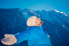 Freedom winter mountain man Stock Image