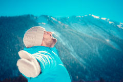 Freedom winter mountain man Royalty Free Stock Images