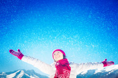 Freedom winter mountain woman Royalty Free Stock Images