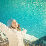Freedom winter mountain woman Royalty Free Stock Photography