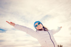 Freedom winter mountain woman Stock Images