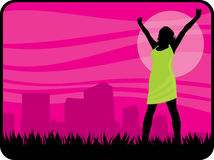 Freedom woman. Silhouette illustration of a woman outside the city enjoying freedom or liberation Stock Images