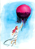 FREEDOM. A woman free herself from her fears royalty free illustration