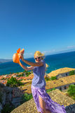 Freedom woman in Greece stock photography