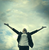 Freedom. Woman pulls hands to the sky. Freedom - conceptual photography Royalty Free Stock Photo