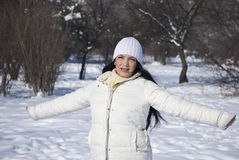 Freedom woman in winter season stock photography