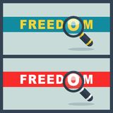 Freedom word with magnifier concept. Illustration of freedom word with magnifier concept Royalty Free Stock Image