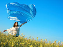 Freedom, young woman outdoor stock photo
