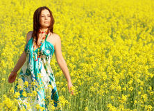 Freedom, young woman outdoor Royalty Free Stock Images