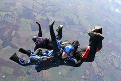 freefall cztery skydivers obraz stock