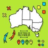 Freehand карта перемещения Австралии на зеленой предпосылке иллюстрация вектора