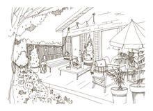 Freehand эскиз патио или террасы задворк обеспеченных в стиле hygge Scandic Веранда дома с ультрамодное современным иллюстрация штока