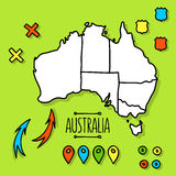 Freehand Australia travel map on green background Royalty Free Stock Images