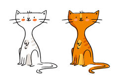 Freehand cartoon vector character, funny ginger cat sketch in mo Stock Photography