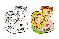 Freehand cartoon vector cuddling couple in love, bright St. Vale Stock Images
