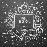 Freehand chalk drawing school items on the black chalkboard. Back to School Royalty Free Stock Image