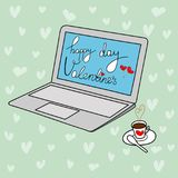 Freehand Doodle Vector Greeting Card Happy Valentine`s Day Lettering. Modern Open Laptop Blue Screen. Cup of Coffee. Heart Pattern Background Creative Unique royalty free illustration