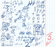 Freehand drawing. School capital letters and formulas freehand drawing stock illustration