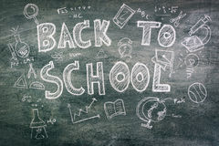 .Freehand drawing Back to school on chalkboard. Freehand drawing Back to school on chalkboard Stock Images